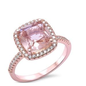 Jewelry - Sterling silver cushion cut Morganite ring